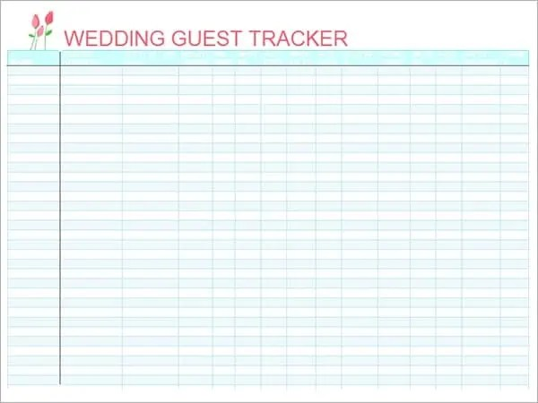 Wedding List Template Wedding Guest List Template Pdf Wedding