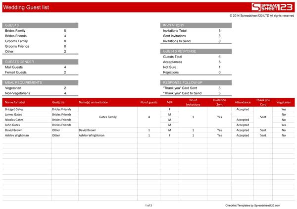 wedding guest list template 5893