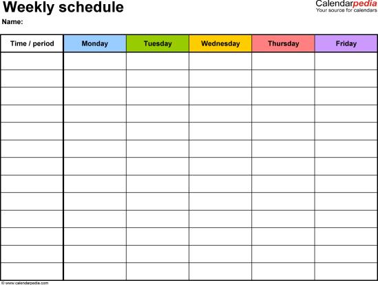 weekly schedule tempalte 1245
