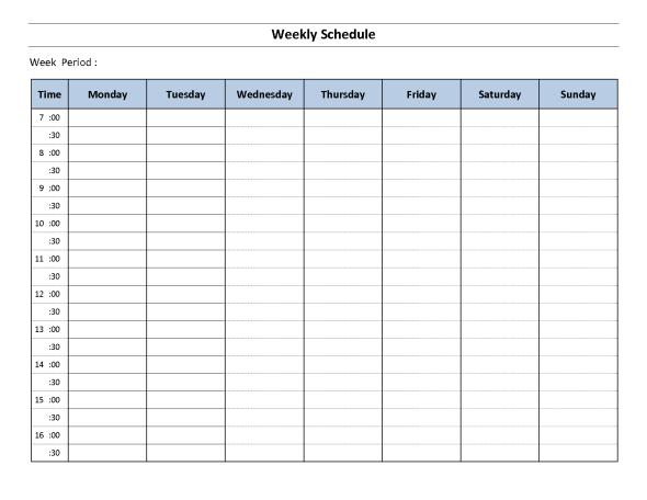 weekly schedule tempalte 2646