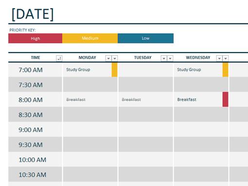 weekly schedule tempalte 3454
