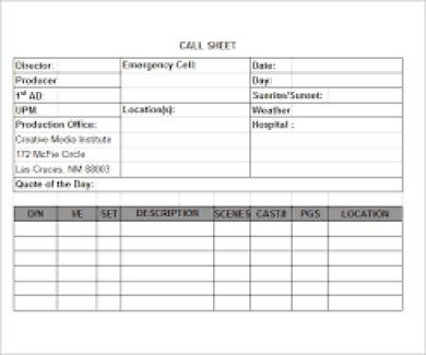 call sheet template 1524