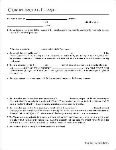 Commercial Lease Agreement Template 125235