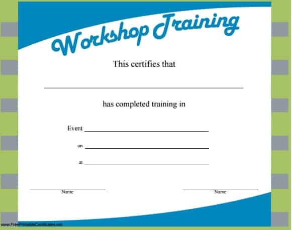 Training Certificate Template 1324  Free Training Certificate Template