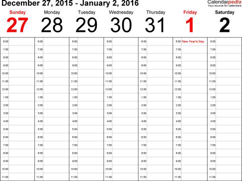 weekly calendar template 2454