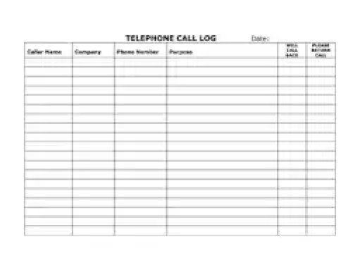 call register template - top 5 resources to get free call log templates word