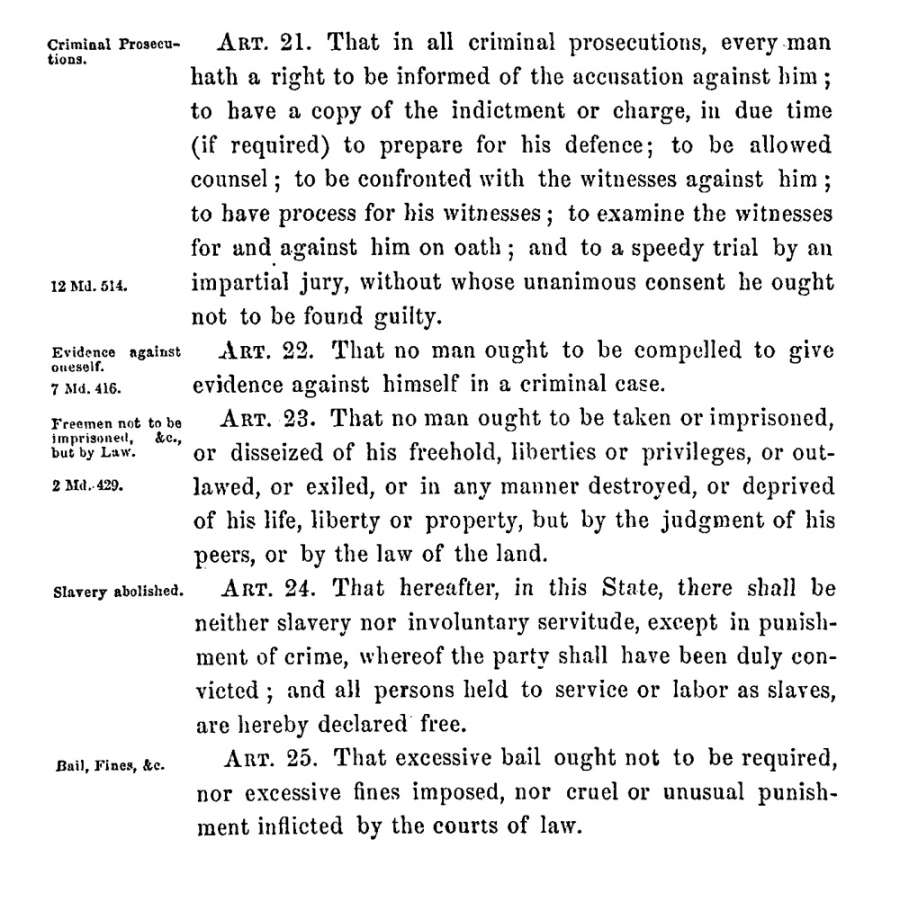Selection From The Maryland Constitution Of 1864; Maryland Archives Online,  Constitutional Records, Volume 102, Page 723; Maryland State Archives  [Online