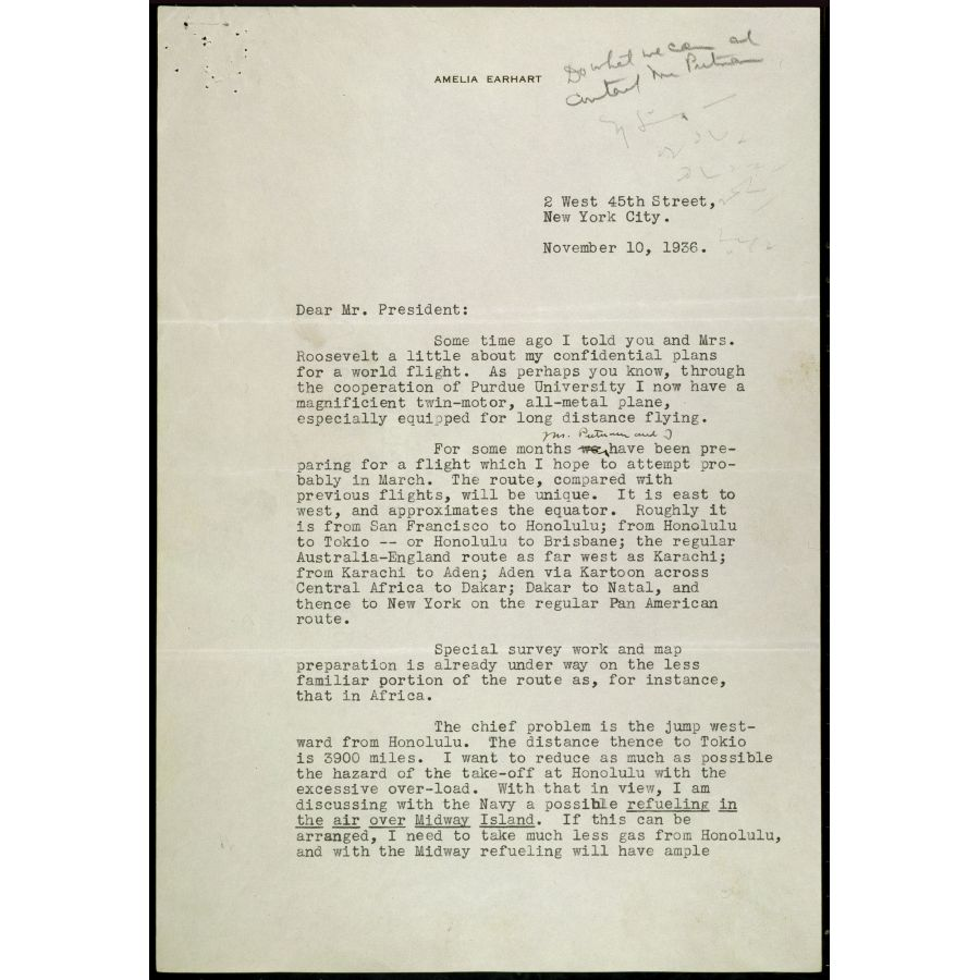 medium resolution of Letter from Amelia Earhart to President Roosevelt Regarding her World  Flight   DocsTeach