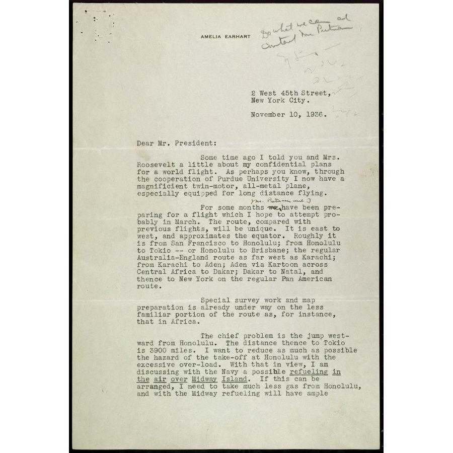 hight resolution of Letter from Amelia Earhart to President Roosevelt Regarding her World  Flight   DocsTeach