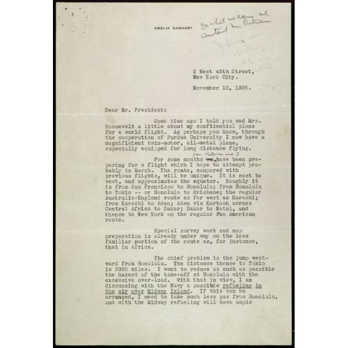 small resolution of Letter from Amelia Earhart to President Roosevelt Regarding her World  Flight   DocsTeach