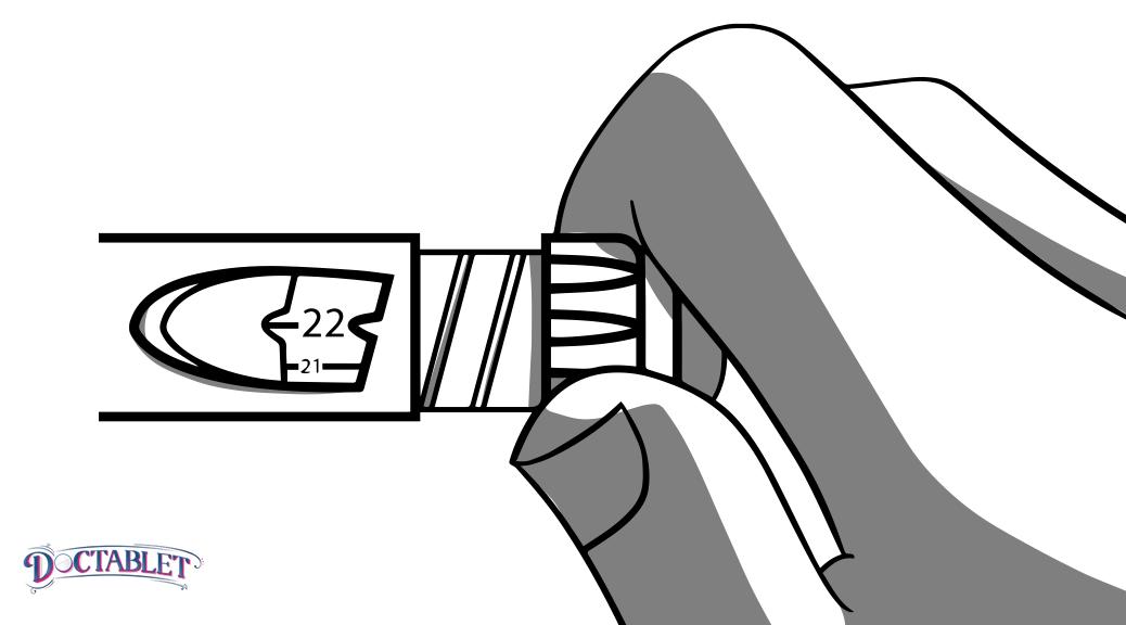 Para marcar la dosis de insulina prescrita, gire la perilla en el sentido de las agujas del reloj hasta que el indicador se alinee con el número prescrito de unidades.