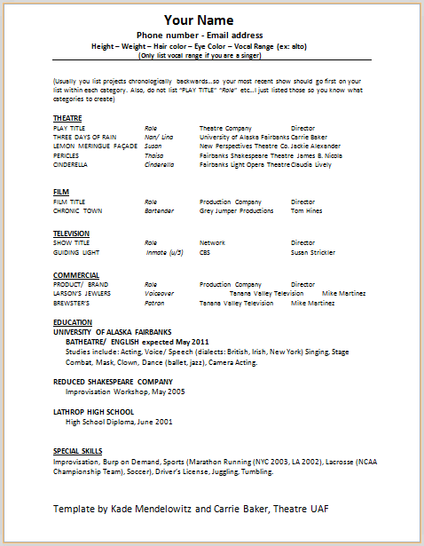 Theatrical Resume Sample 10 Acting Resume Templates Free Samples