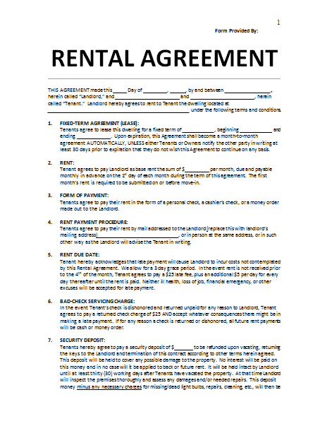 renters agreement florida
