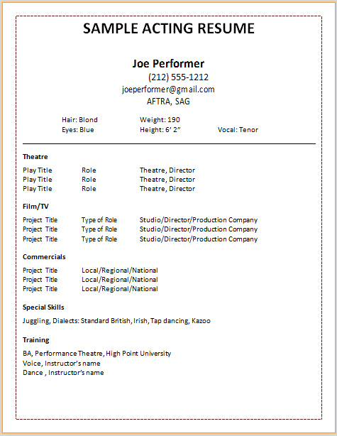 resume template acting