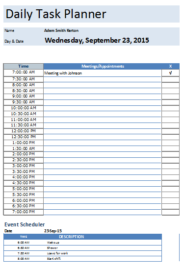excel daily planner template