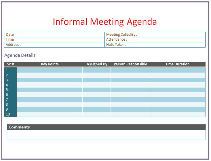 the goal of the informal agenda is