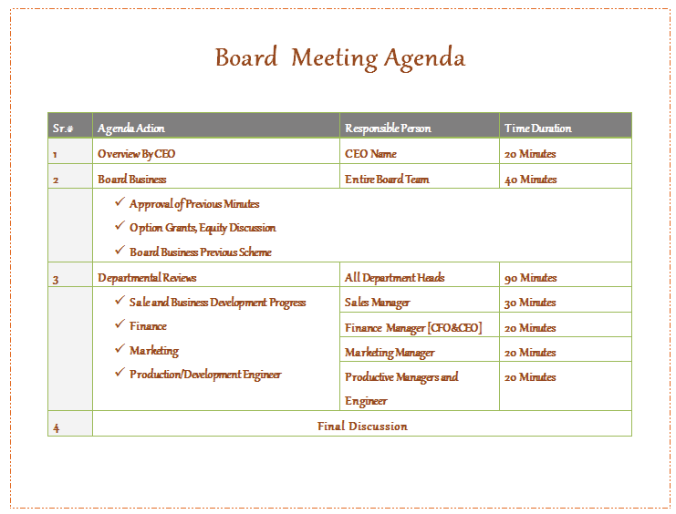non profit meeting agenda template
