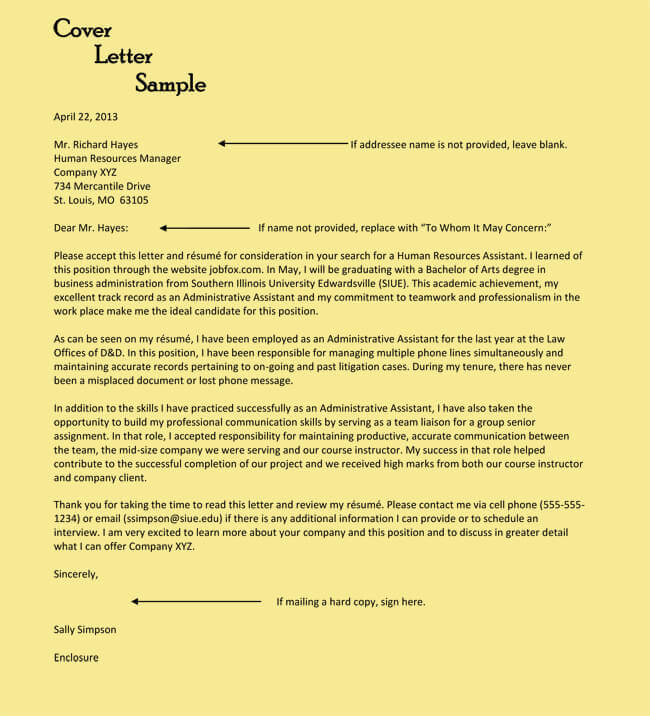 sample executive assistant resume cover letter