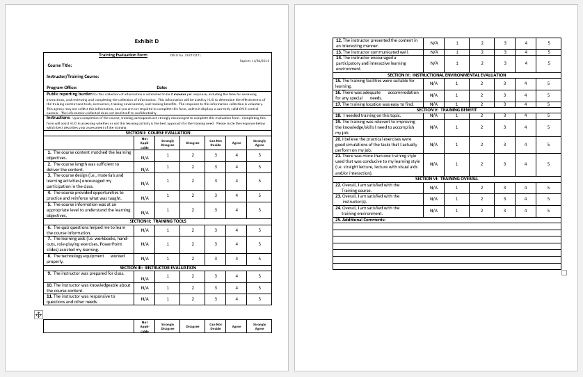 training form for employees