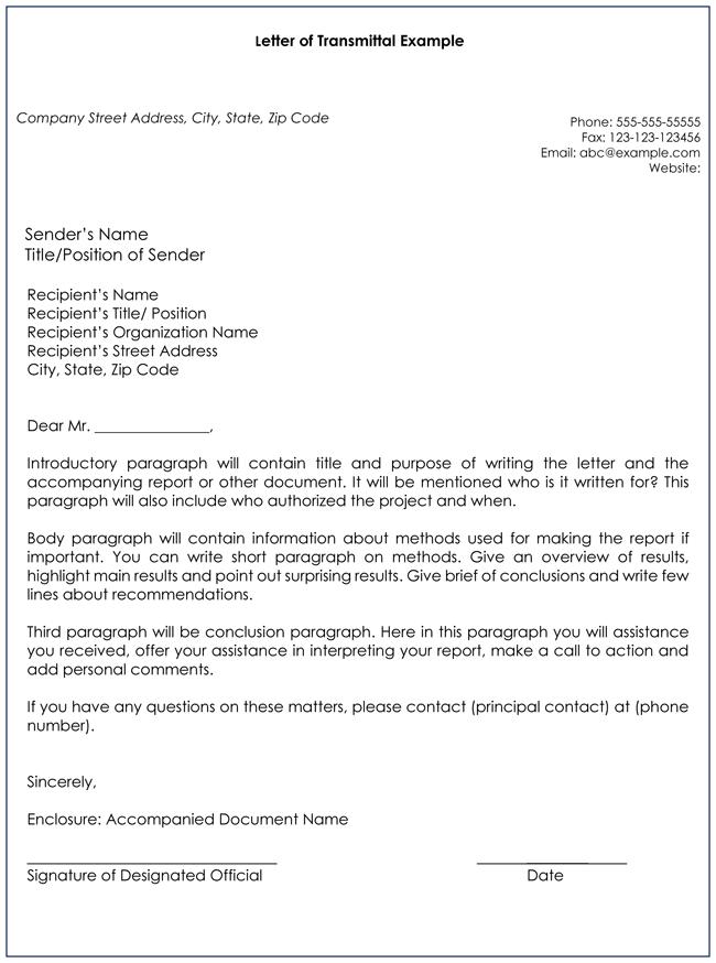 letter of transmittal samples