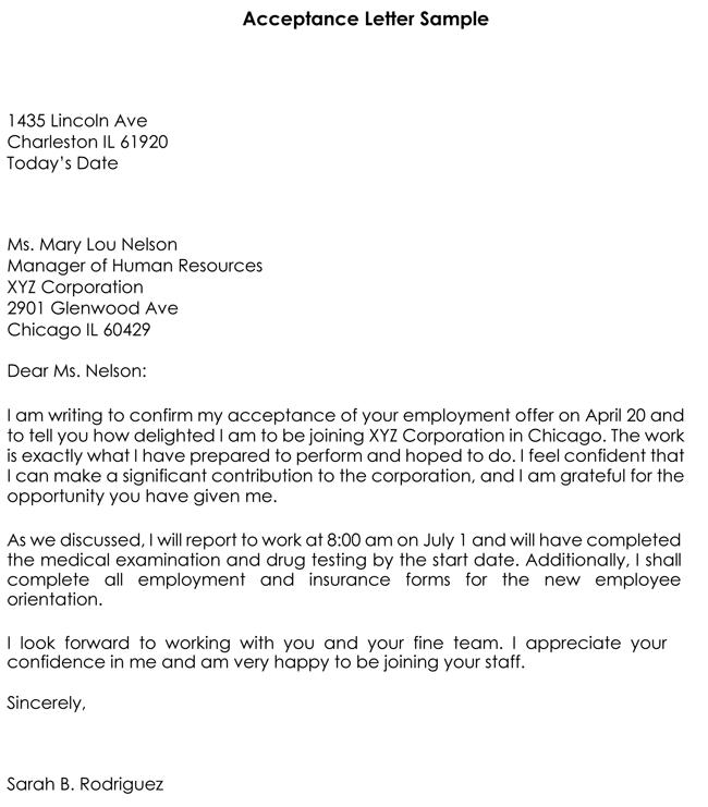 sample of job acceptance letter