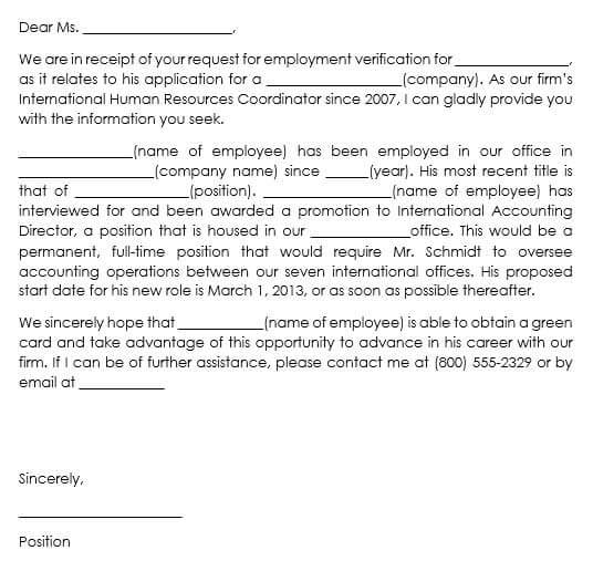 template for employment verification letter