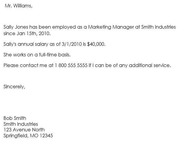 sample letter proof of employment