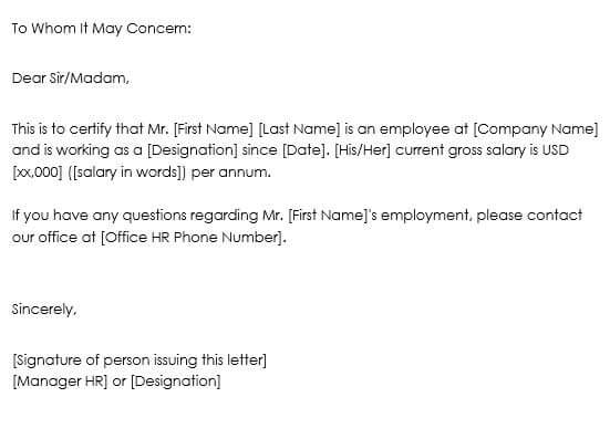 proof of employment letter
