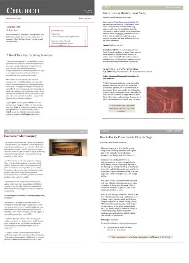 Free Church Newsletter Templates Editable In Microsoft® Word