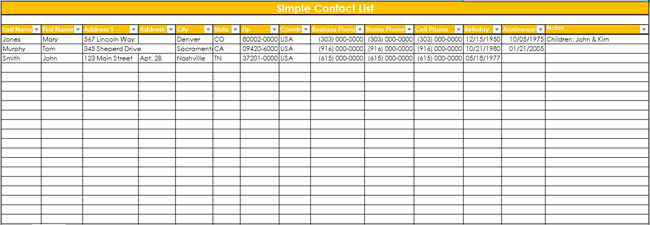 excel contact database template
