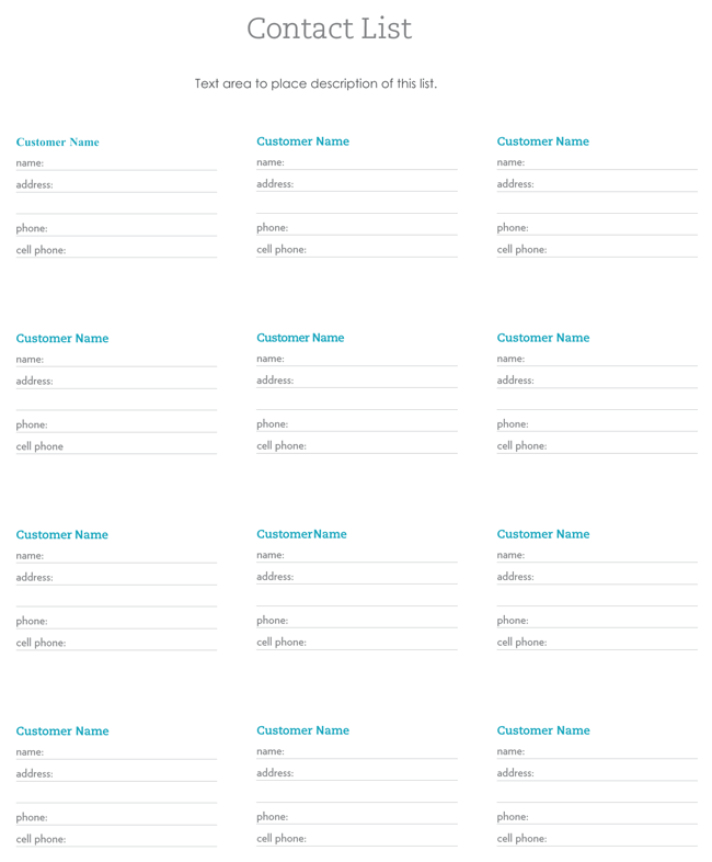 9+ Customer Contact List Templates in Word and Excel