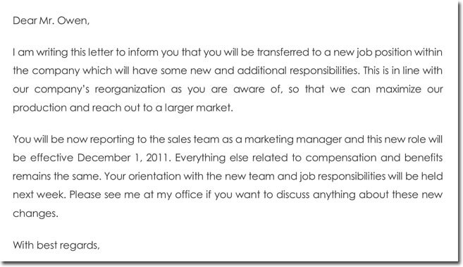 transfer confirmation letter