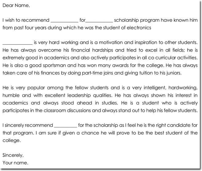 scholarship letter of recommendation sample