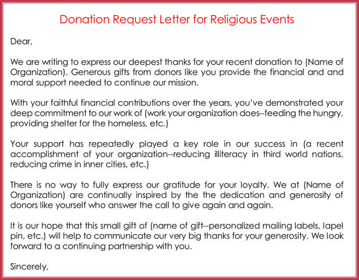 sample letter request for donation
