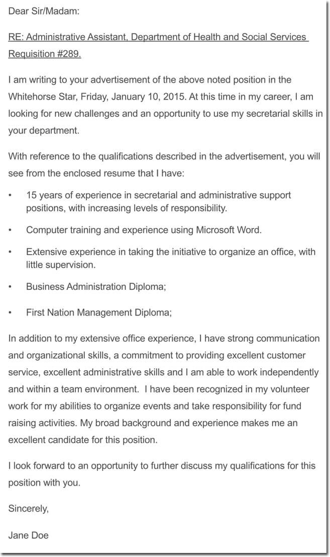 example of resume cover letters