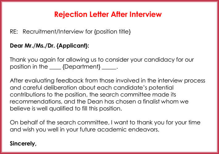 Superior Sample Rejection Letter After Interview. Rejection Letters 20 Free Samples  Formats For Hr