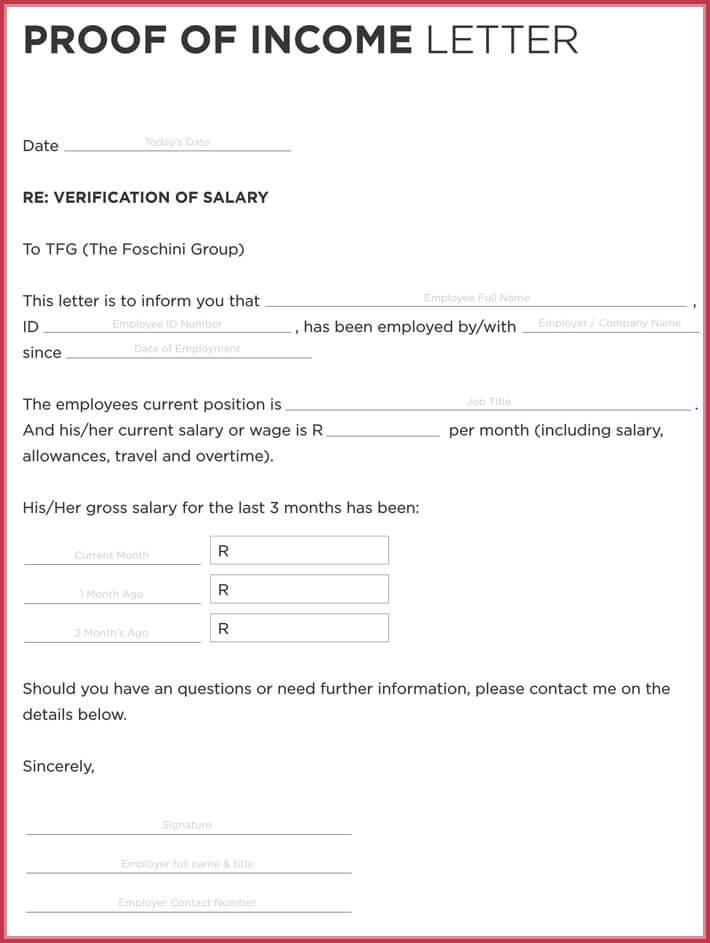 Employment Income Verification Form Template