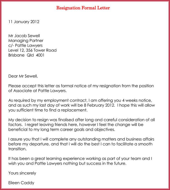 sample resignation letter for company