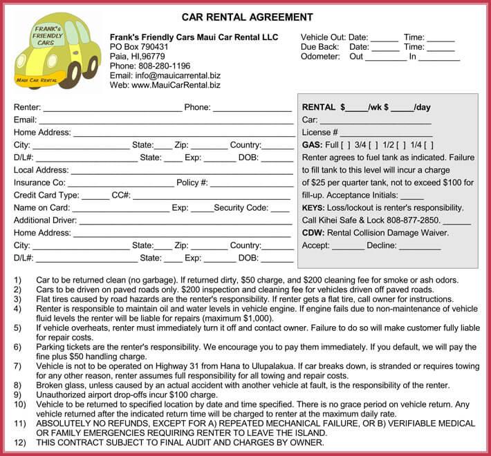 Car Rental Agreement 7 Samples Forms Download In Word Amp PDF