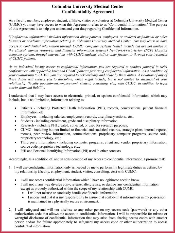 Standard Confidentiality Agreement Forms - Free Download in Word, PDF