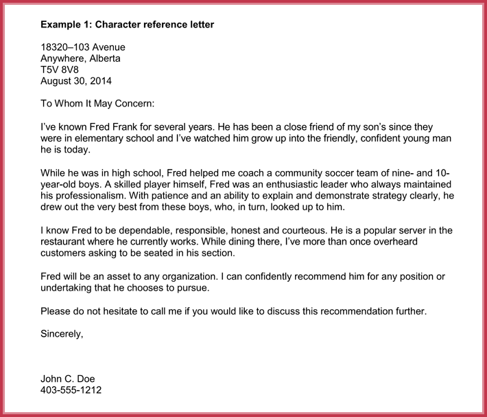 recommendation letter template for immigration