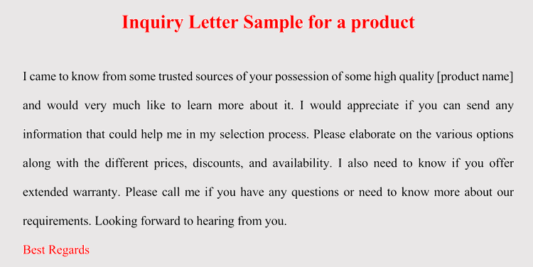 How To Format An Inquiry Letter For Product Service 5