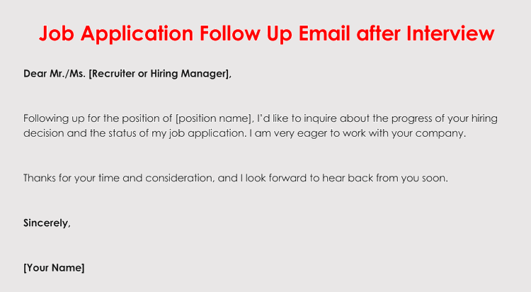 How To Format A Follow Up Letter For Your Job Application