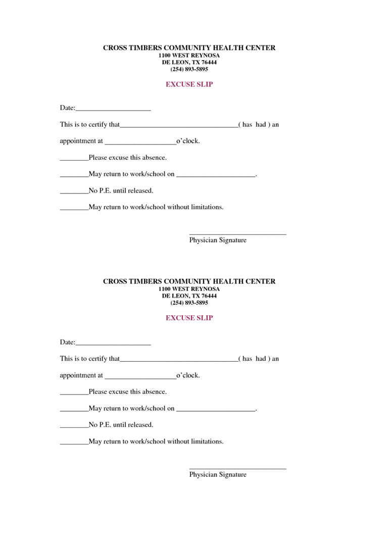 36 Free Fill-in-Blank Doctors Note Templates (For Work