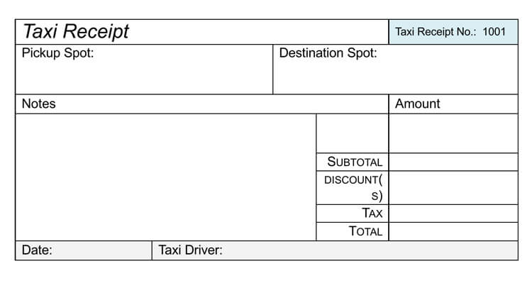 16 Free Taxi Receipt Templates  Make Your Taxi Receipts