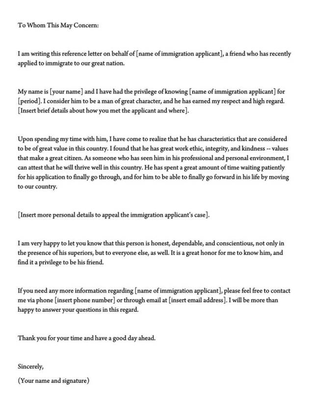 Letter Of Support For Immigration
