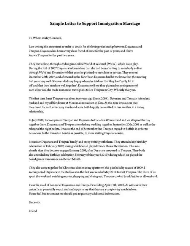 Reference Letter to Support Immigration Marriage (Samples & Template)
