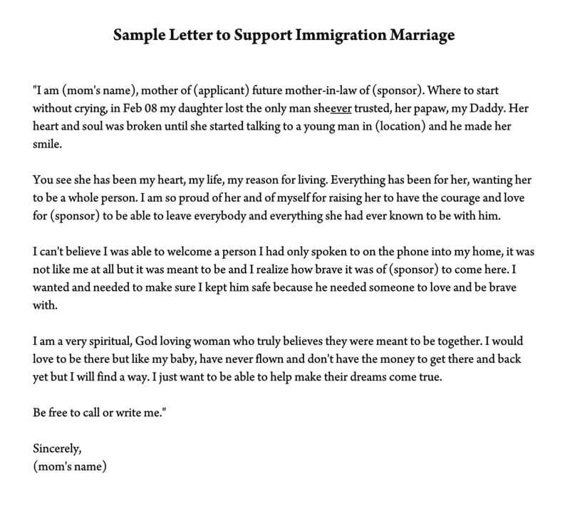 relationship support letter immigration sample