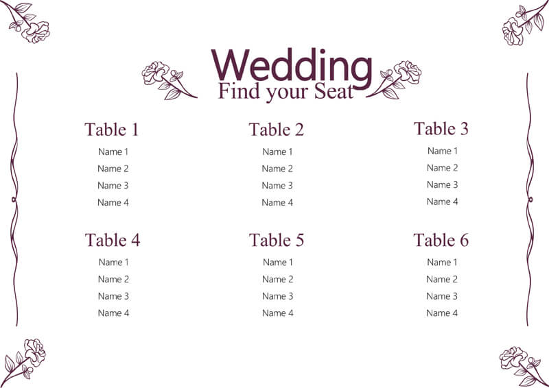 FREE Wedding Seating Chart Templates (Word, PSD, AI)