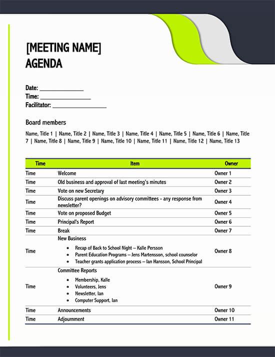 Use xtensio's meeting agenda template to define more impactful team meetings. 15 Free Meeting Agenda Templates How To Write Word Pdf